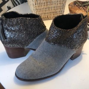 TOMS felt and woven sparkle booties